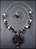 Black and White - Lampwork Bead Necklace by andromeda