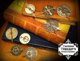 Steampunk Clockface Gear Brooches 2 by tursiart
