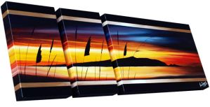 Tripple Canvas Sunset by karlandrews