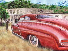 1951 Mercury At An Abandoned Garage (Painting) by FastLaneIllustration