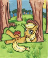 Applejack under a tree by Dracosia