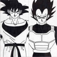 Goku and Vegeta by The-Great-Tomato