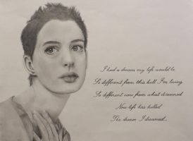 Anne Hathaway - Les Miserables drawing by kyllerkyle