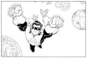 Green Lantern with Cats by Robo-Bug