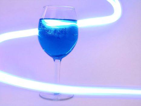 Light Painting With Blue Wine Glass by BeautyInNaturePhotos