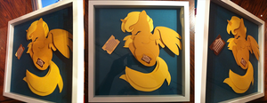 Commission: Sleepy Ticket Shadowbox by The-Paper-Pony