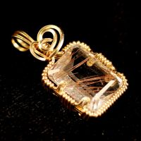 Rutilated Quartz, Gold Pendant by innerdiameter