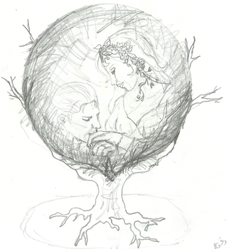 Pencil sketch:  Crystal ball by judygoodwin