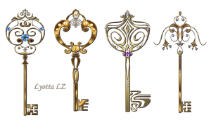Gold Keys With Stones Lyotta by Lyotta