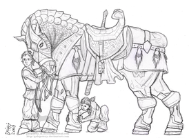 The Lord's Warhorse LINEART by GalopaWXY