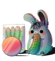 Nibbling the pickle [ chibi commission ] by Aunty-chick