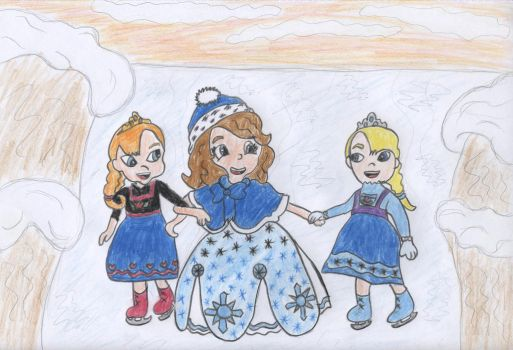 Ice skating with Anna and Elsa by Schrucy