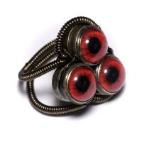 Steampunk Triple Red Eye Ring by CatherinetteRings