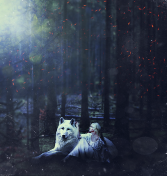 Wolf with girl by xnescha