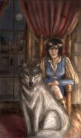 Lady Hawke and her wolf by Inveleth