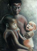 African woman with children by dezz1977