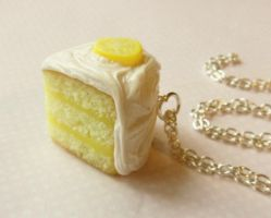 lemonade cake necklace polymer clay by ScrumptiousDoodle