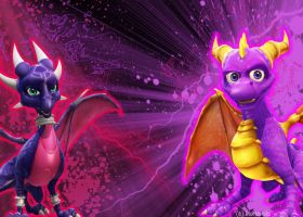 Spyro and Cynder wallpaper by floravola