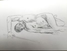 Male with post, 20 minute pose by grahambower