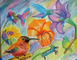 Hummingbirds and flowers..oh and a catipillar by Bobby-castaldi-art