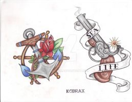 Tattoo Flash Traditional IX by Kobraxxx