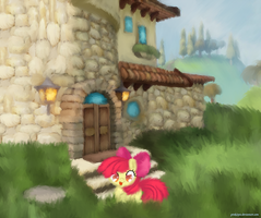 Applebloom Playing by Pinki3pie