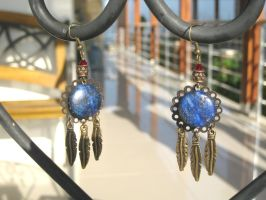 Dreamcatcher Inspired Bronze Lapis Earrings by pestenkerani