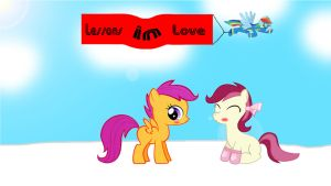 Rose and Scootaloo in love (Wallpaper) by Hardii