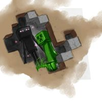 Minecraft: Enderman and Creeper by BloodBlueRain