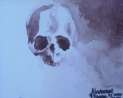 watercolor skull card by Signevad