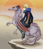 sunset dragon rider by sketchi