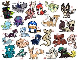Cheap Adoptables (5-30 points) (2/26 availible) by iheartart132