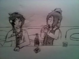 Drinking n Smoking cigarettes by jerichojim
