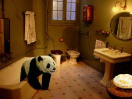 Panda In The Bathroom by Deviant-Sentient