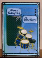 Having A Rocking Birthday Drum Kit Card For Spike by blackrose1959