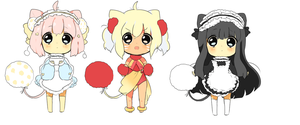chibi auction:: maid pom kitties* CLOSED by Hinausa