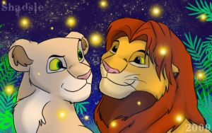 Simba, Nala, Fireflies by ShadowOfTheMeadow