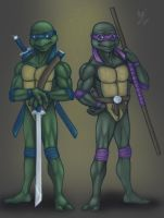TMNT: Leo and Don by Violette-Aner