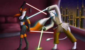 For Ozlion Light Saber fight by wolfwarlock