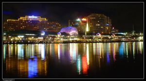 Darling Harbour at night by frangipanigirl