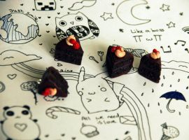 Super chocolate cake polymer clay charm by kittty19