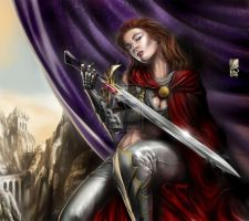 Red-sonja-in-silver-tight-pants-with-red-cape- by talha122