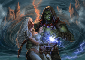 Thrall And Serah Commission by x-Celebril-x