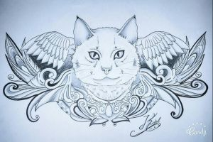 cat tattoo wings  by kristelpeters