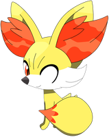 Fennekin sitting down pose, part one 2/37. by Flutterflyraptor