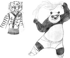 .:Po And Tigress Sketches:. by Goosie-Boosie