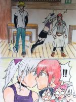Erza x Mirajane accidentally kiss comic by Narutaa