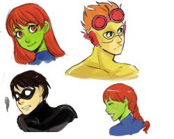 Expressions practice with Young Justice by Celle-Kurochan