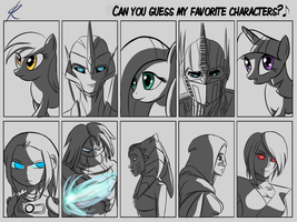 Guess my favorite characters meme by Raikoh-illust