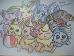 Eeveelutions Part 3 by dengekipororo